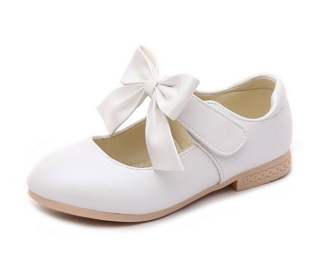 Bumud Little Girls Mary Jane Dress Ballet Ankle Strap Bow Flat Shoes (9 M US Toddler, White)