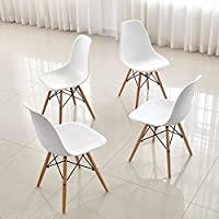 Dining Chair Set FurnitureR 4 Pcs Dinning Chair Height Natural Wood Legs Chair Eiffel Eames Style Seat Armless Chairs White