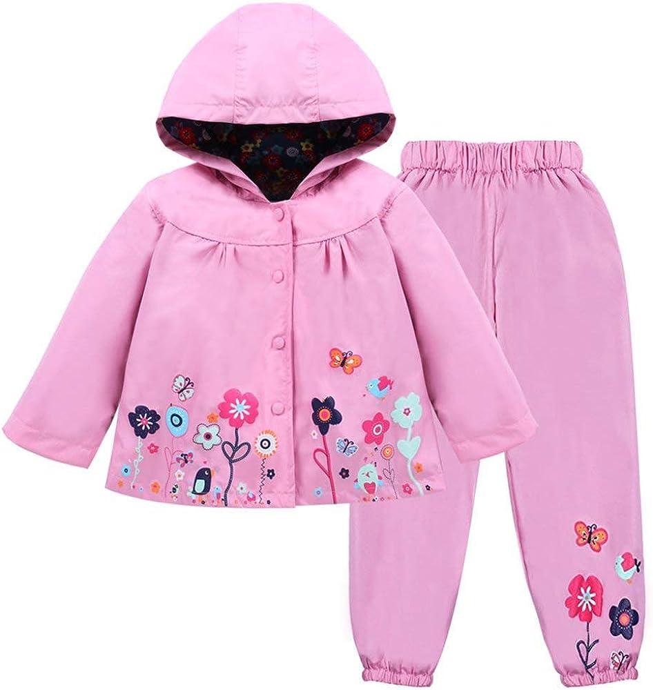 LLXX Kids Girls Raincoat Rain Trouser Age 2-7 Classic Printed Waterproof Hooded Coat Jacket Outwear Raincoat Snowsuits