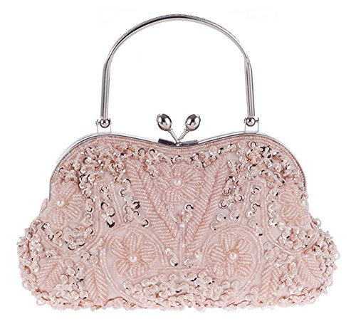 Vintage Floral Jewels Beaded Evening Purse Clutch Kissing Lock Metal Top-Handle Prom Party Bag(Pink)