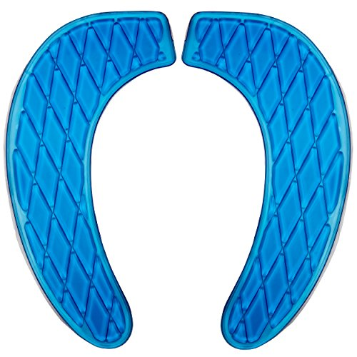 Gel Toilet Seat Cover, Toilet Seat Cushion, Adhesive Gel Cushion Pads Provide a Padded and Cushioned Seat for Maximum Pressure Relief - Washable and Portable- for Standard U Shape Toilet Seats, Blue (Toilet Seat Cushion Gel)