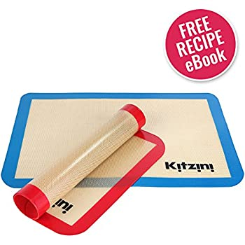 "Silicone Baking Mat Sheet Set (2) Half Sheets 16.5"" x 11 5/8"" - Non Stick Cookie Sheets Professional Grade - Includes Bonus Recipe eBook"