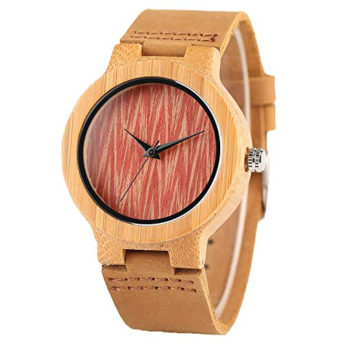 Ladies Woods Tiger Watch (Bamboo Wooden Quartz Women Watches Genuine Leather Band Red Wave Dial Creative Ladies Watch Simple Handmade Wood ClockStyle)