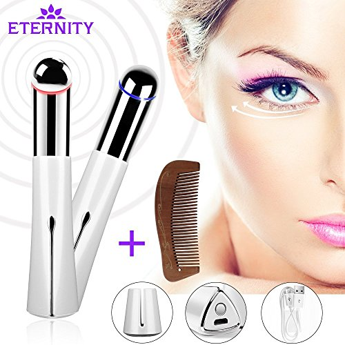 Price comparison product image Heated Sonic Eye and Face Wand Device High Frequency Vibrating Massager Anti-aging Galvanic Wand Anions Rechargeable Wrinkle Remover for Dark Circles and Puffiness (White)
