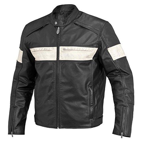 River Road Twin Iron Leather Jacket - Black/White Size 54 covid 19 (River Road Plain Leather coronavirus)