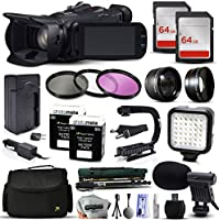 Canon XA20 Professional Camcorder Video Camera + 128GB Memory + Travel Charger + 3 Filters + 2 Batteries + Opteka X-Grip + LED Light + Microphone + Monopod + Large Case + Dust Cleaning Kit + More
