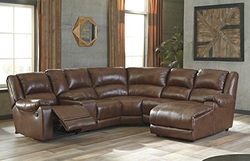 Billwedge Contemporary Canyon Color Leather Sectional Sofa