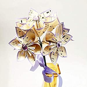 5 Sheet Music Paper Flowers- Ready to ship, handmade, small lilac bouquet, anniversary gift, wedding decor, Mother's Day gift 40
