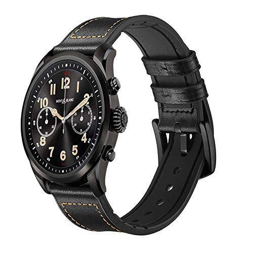 Quick Release Smartwatch Band for Montblanc Summit 2, Silicone and Leather Sport Band Replacement Straps for Montblanc Summit 1 and 2 Smartwatch