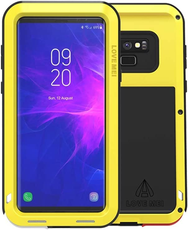 Galaxy Note 9 Case,Bpowe Super Shockproof Silicone Aluminum Metal Armor Tank Heavy Duty Sturdy Protector Cover Hard Case for Samsung Galaxy Note 9 (Yellow)