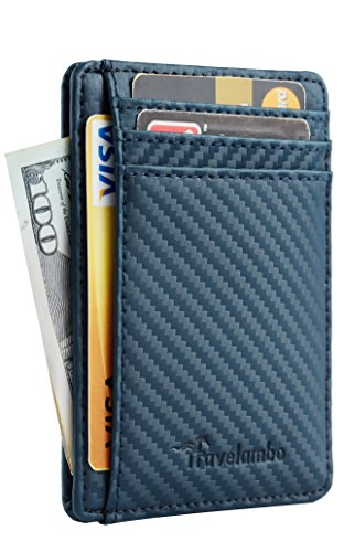 Travelambo Front Pocket Minimalist Leather Slim Wallet RFID Blocking Medium Size(carbon fiber texture blue)