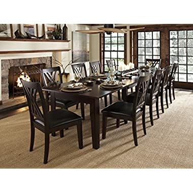 A-America Montreal 132  Rectangular Dining Table with (3) 24  Self-Storing Leaves, Rich Cognac