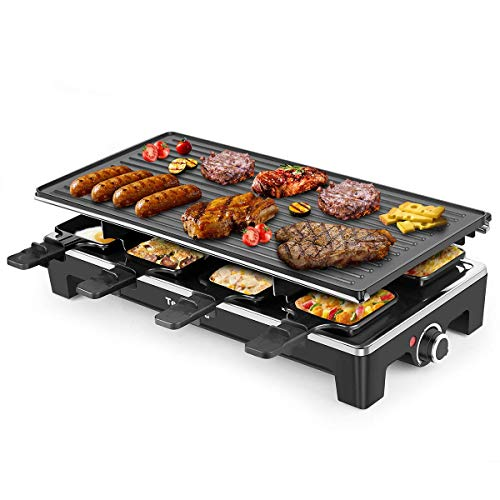 Electric Grill Techwood Raclette Grill with Double-sided Nonstick Grill Plate,8-Person Multifunctional Raclette Grill, 1500W Temperature Adjustment Function, Black