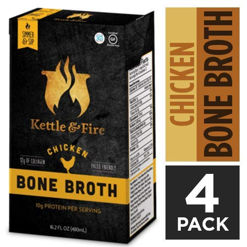 Chicken Bone Broth Soup by Kettle and Fire, Pack of 4, Keto Diet, Paleo Friendly, Whole 30 Approved, Gluten Free, with Collagen, 7g of protein, 16.2 fl oz