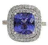 6.09 Carat Natural Blue Tanzanite And Diamond Ring In 14K White Gold