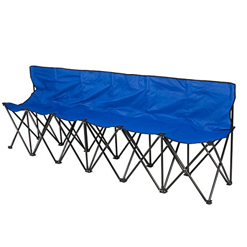 Best ChoiceProducts 6 Seat Folding Bench Sports Sideline Chairs Portable with Carrying Case, Blue (Lawn Table)