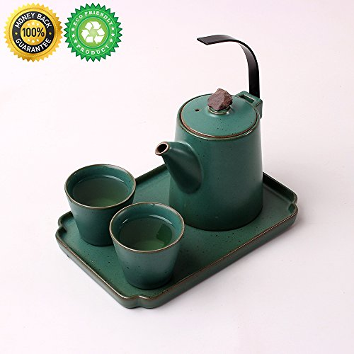 China Tea-Set for 2 with Decor Tray,Gift Box,TEANAGOO-Dione,Pot(10 oz),teapot Diffuser Infuser, Yixing Zero Cup, Real Modern Japanese Green Vietnamese Handle Porcelain Organizer Mug, Microwave Safe
