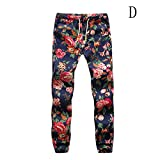 THINKBEST Men's Plus Size Floral Sports Jogger Long Tapered Track Pants Sweatpants