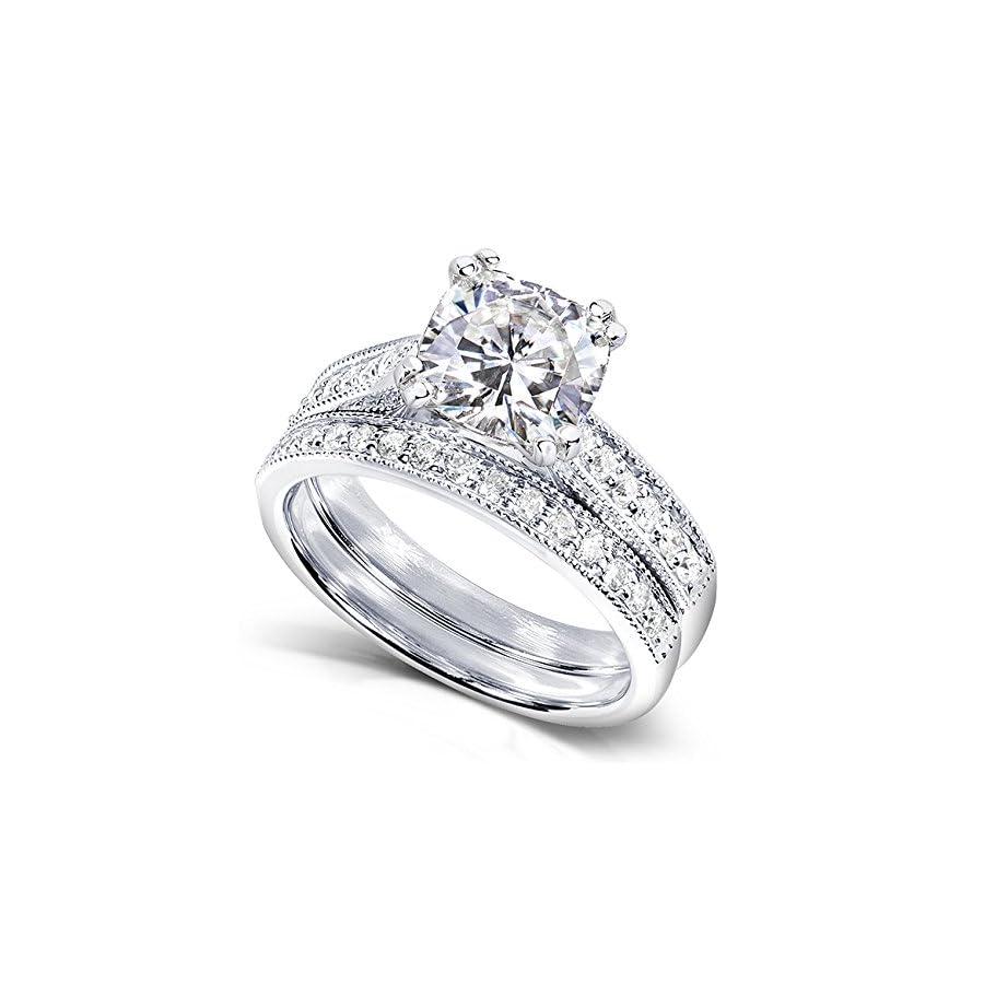 Forever One (D F) Moissanite Bridal Set with Diamond 1 2/5 CTW 14k White Gold
