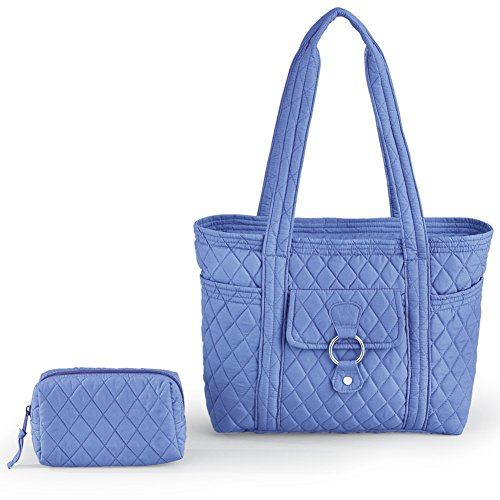 Womens Quilted Tote Set Blue