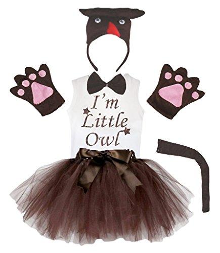 (Petitebella 3D I m Little Owl Brown Headband Gloves Tutu Shirt 6pc Girl Costume (3-4)
