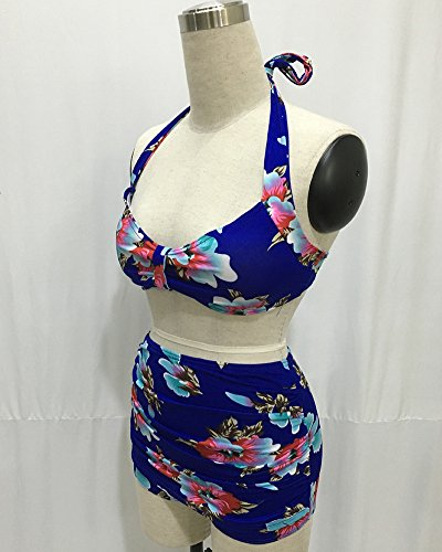 Moollyfox Mujer Correa Del Halter Talle Alto Playa Bikini Traje De Baño Azul