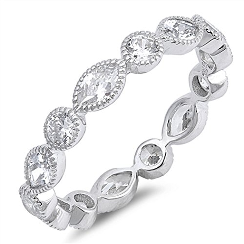 CHOOSE YOUR COLOR Sterling Silver CZ Round-Marquis Eternity Ring (Size 4 - 10) - 10 by JewelryBadger (Image #2)