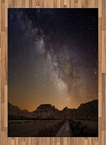 Night Sky Area Rug by Lunarable, European Vacation Place Spain Milky Way Over The Desert of Bardenas View, Flat Woven Accent Rug for Living Room Bedroom Dining Room, 5.2 x 7.5 FT, Brown and Dark Blue by Lunarable