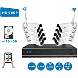 NORTHSHIRE Wireless Surveillance Camera Kit, 8CH 720P Wireless NVR HD Security System with [1.0 Megapixel] 1.0MP Waterproof Night Vision IP Camera (Scan QR Code Quick Remote Access) with 1TB HDD