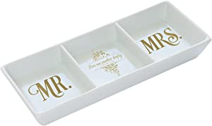 Christian Art Gifts Ceramic Rectangle Mr and Mrs Ring Dish Jewelry Holder | Mr. and Mrs. – 1 Peter 1:22 | Bible Verse Couples Trinket Tray Dish for Jewelry and Accessories