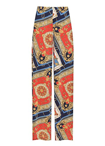 Rimi Hanger Womens Baroque Paisley Printed Palazzo Ladies Plus Size Wide Leg Flared Pants Red US 18-20