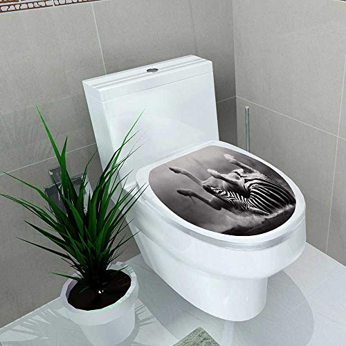 (Auraise-home Bathroom Toilet seat Sticker Decal Zebra Rolling in The dust istic Processing Decal Sticker Vinyl W12 x L14)