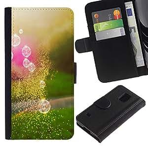 LASTONE PHONE CASE / Lujo Billetera de Cuero Caso del tirón Titular de la tarjeta Flip Carcasa Funda para Samsung Galaxy S5 V SM-G900 / Reflection Pink Green Summer Sun Sunset