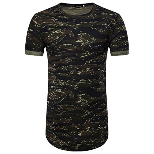GREFER Men's Spring and Summer Casual Camouflage Print O Neck Pullover Long T-Shirt Top Blouse (XXL, Army Green)