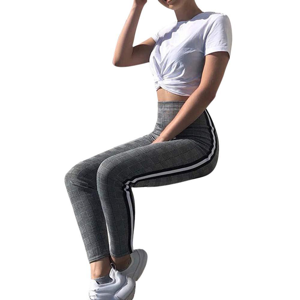 9dfe45ddd9e Mujer Alto Cintura Raya Recortes Pata de Gallo Delgado Flaco Pantalones  Yoga Pantalones Deportivos Mujer Largos Leggings Deportes Legging Fitness  Polainas ...