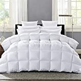 Extra Big King Size Comforters ROSECOSE Luxurious Heavy Goose Down Comforter King Size Duvet Insert Pinch Pleat Splicing 1200TC 750+ Fill Power 100% Cotton Shell Hypo-allergenic Down Proof with Tabs (King,White,Pinch Pleat)