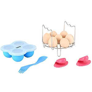 [With Handle] Stackable Egg Steamer Rack and Silicone Egg Bites Molds for Mini Instant Pot Accessories 3 Quart, Fits 3/5/6/8 Qt Pressure Cooker - Bonus Silicon Finger Sleeves and Spoon,By Sapid