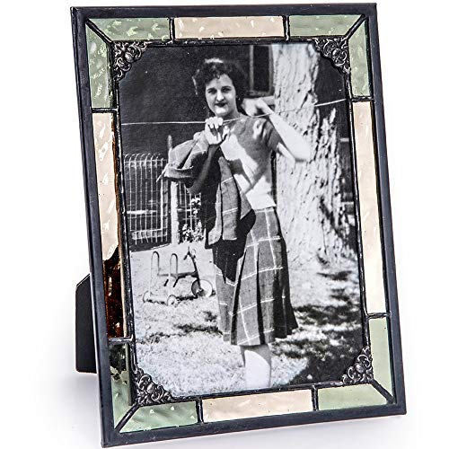 J Devlin Pic 404-57HV Stained Glass 5x7 Picture Frame Antique Pale Yellow and Green Baby Wedding Photo Frame by J Devlin Glass Art