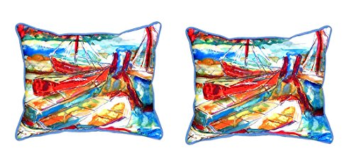 Pair of Betsy Drake Betsy's Marina Large Indoor/Outdoor Pillows 16 In. X 20 In. price