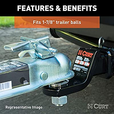 CURT 25128 Straight-Tongue Trailer Coupler for 2-Inch Channel, Accepts 1-7/8-Inch Hitch Ball, 2,000 lbs.: Automotive