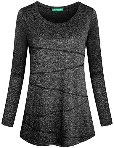 - Kimmery Workout Shirts for Women, Ladies Top Round Neck Long Sleeve Heathered Yoga Blouse Moisture Wicking Sun Protection Lightweight Dri Fit Tee Performance Black Medium