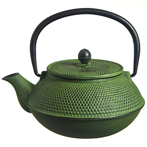 M.V. Trading T7006 Cast Iron Teapot, 27-Ounce, Green Hobnail