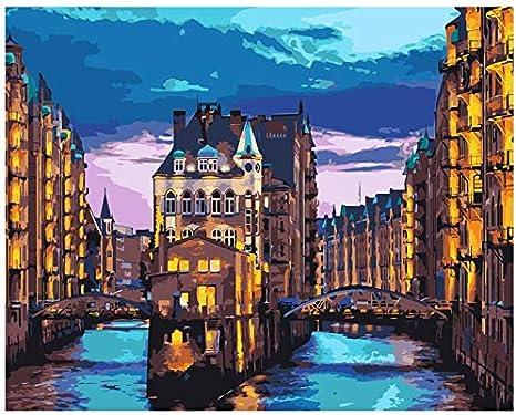 AFSZHWLP Dipinto con i Numeri Fai da Te Acqua Vista Notturna della Citt/à Paesaggio Tela Decorazione di Nozze Immagine Artistica Regalo