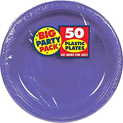 New Purple Plastic Luncheon Plates Big Party Pack, 50 Ct.: Kitchen & Dining