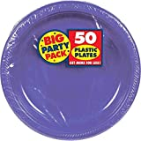 Amscan Plastic Lunch Plates, 50 pieces, Purple