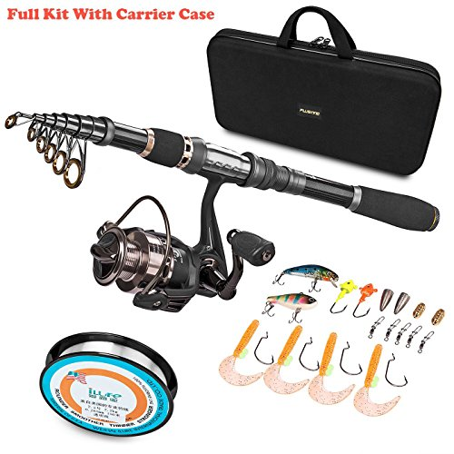 PLUSINNO Telescopic Fishing Rod and Reel Combos FULL Kit, Spinning Fishing Gear Organizer Pole Sets with Line Lures Hooks Reel and Fishing Carrier Bag Case Accessories (Best Spinning Reel)