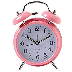ACMEDE Twin Bell Alarm Clock Loud Retro Alarm Clock for Heavy Sleepers Battery Operated with Nightlight Desk Table Clock for Home & Office