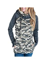Women's Side Zipper Hoodie Outwear Long Sleeve Steipes Pullover Sweatshirt