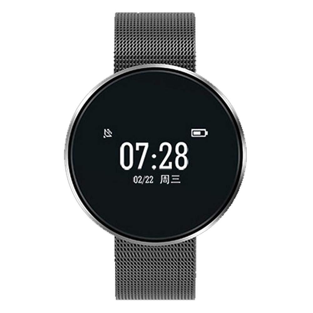 Gets Unisex Smart Watch Simple Stainless Steel Design Mesh Wristband Business Watch Digital Monitor Watch (Black)