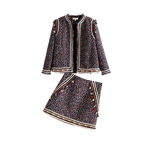 Tweed Skirt Set - 2019 Luxury Fashion Skirt Suits Vintage Tassel Tweed Blazers Tassel Tweed Skirt Set